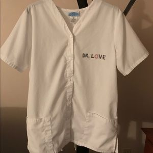 White Scrubs Snap Top -Halloween Costume M